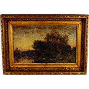 "Oil on Panel Landscape titled ""Twilight"" by American Artist George Herbert McCord (1848-1909)"