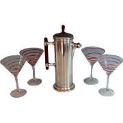 Art Deco Cocktail Martini Shaker w Red Lucite Handle and 6 Red Swirl Glasses