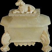 Antique French Carved Alabaster Dog Box