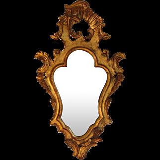 "Antique Florentine Gilt Wood Crested Mirror 28"" by 16"""