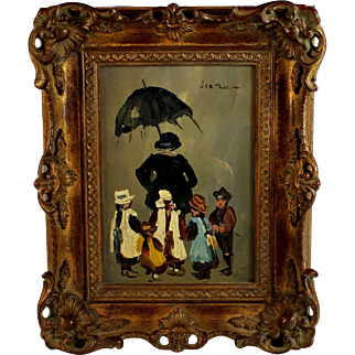Oil Painting Of Dutch Children with Nanny by J. Veerman