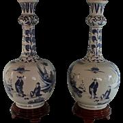 Set of De Porceleyne Fles Royal Delft Long Neck Vases Marked and Dated