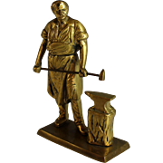 Vintage Bronze Sculpture of a Muscular Blacksmith