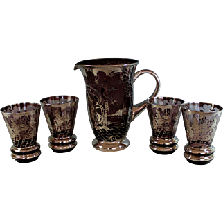 Vintage Sterling Silver Overlay and Purple Glass  Drink Set