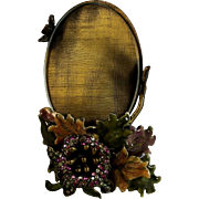 Vintage Jay Strongwater Small Oval Picture Photo Frame with Leaves and Flowers