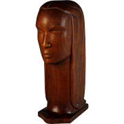 Vintage Abstract Bust Sculpture, Statue, Wood Carving, Mid Century Modern