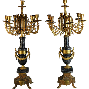 Pair of Louis XV Style Gilt Metal 7 Light Candelabra With Black Marble Base