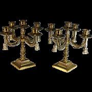 Pair English Brass 5 Arm Candelabra With Brass Tassels