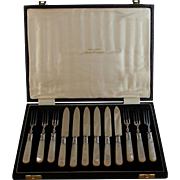 Set of 6 Silver plate and Mother of Pearl Fruit Knives / Forks Marshal Field