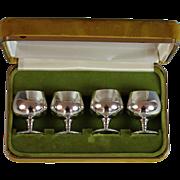 """Vintage """"Gorham Sterling"""" Set of 4 Cordial Goblets Sterling Silver HM 955"""