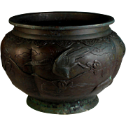 Antique Chinese Bronze Bowl with Birds and Branches