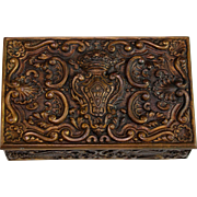 Antique Bronze Dresser Reliquary Box, Casket with Coat of Arms