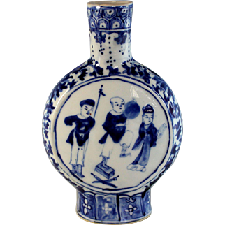 Antique Signed Chinese Blue White Pilgrim Moon Flask Vase
