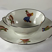Cute Limoges Child's Cup and Saucer, Clowns