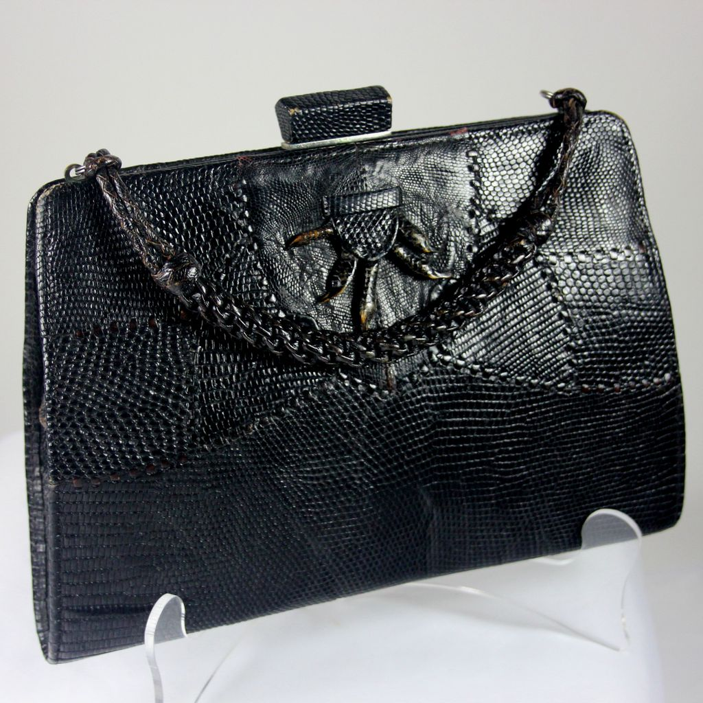 Stylish vintage genuine black lizard hand bag/purse