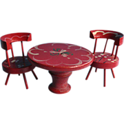 Miniature Doll House Hand Made Spool Table & Two Chairs