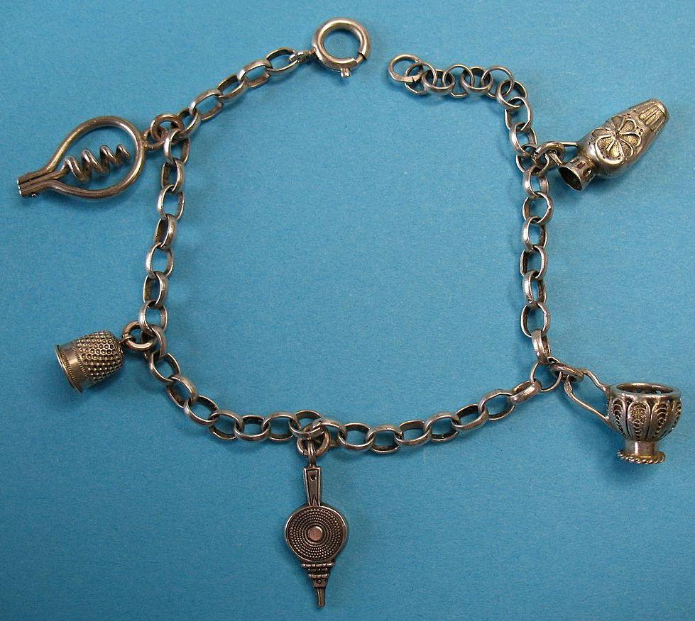 RARE Vintage Silver French Charm Bracelet 1890's Cartouche Hallmarks