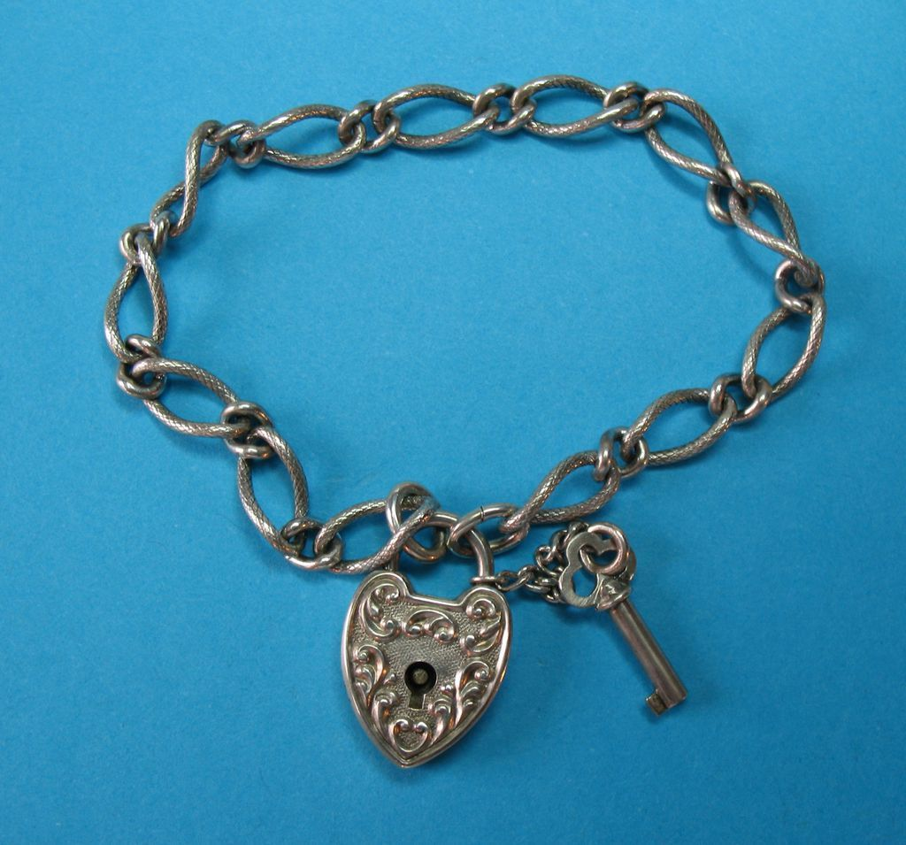 Victorian Antique Repousse Puffy Heart Padlock & Key Charm Bracelet