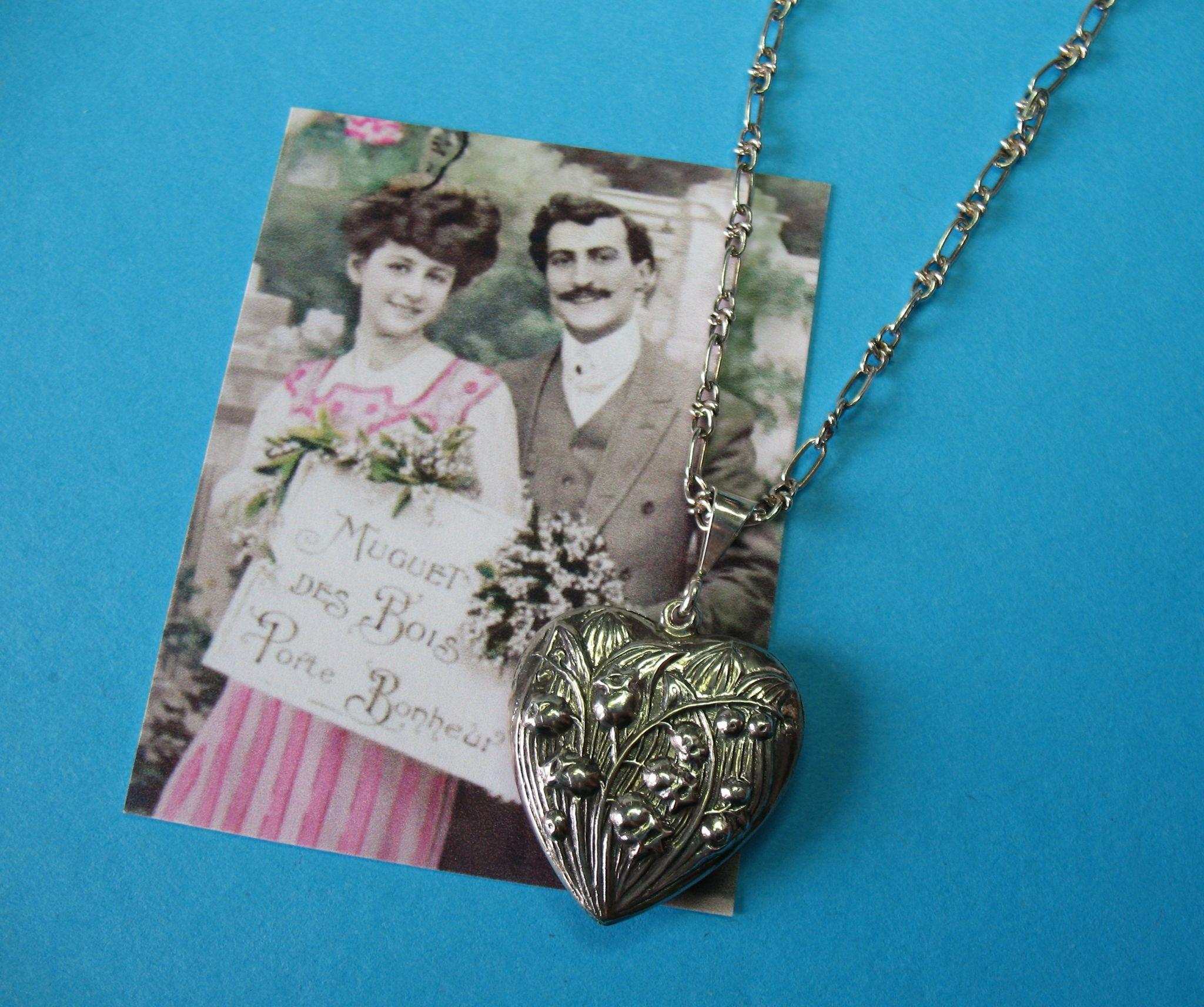 Vintage Sterling 1960s Lily of the Valley Floral Puffy Heart Necklace Pendant Charm