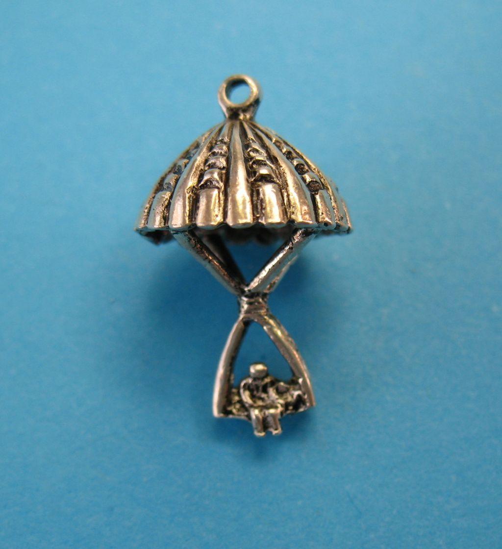 Vintage Sterling Silver Parachute Bracelet Charm