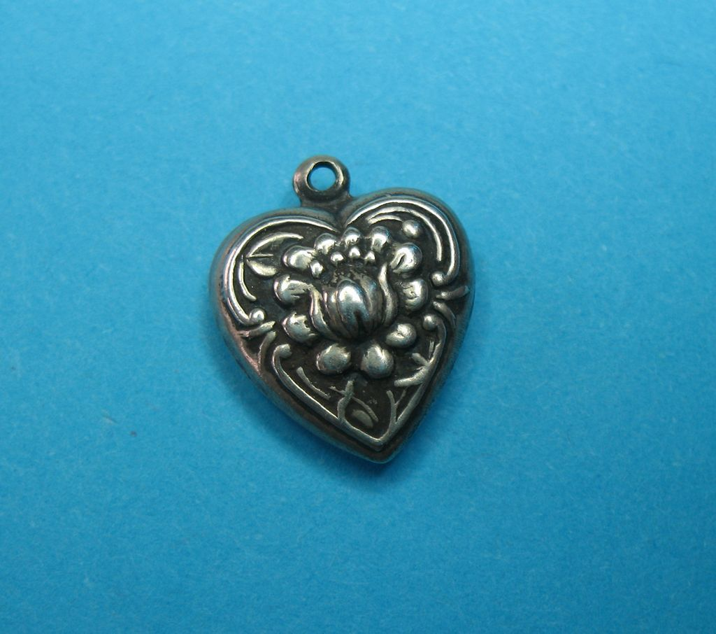 Vintage Sterling Silver Floral Puffy Heart Charm