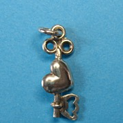 Vintage Sterling Silver Key & Heart Charm