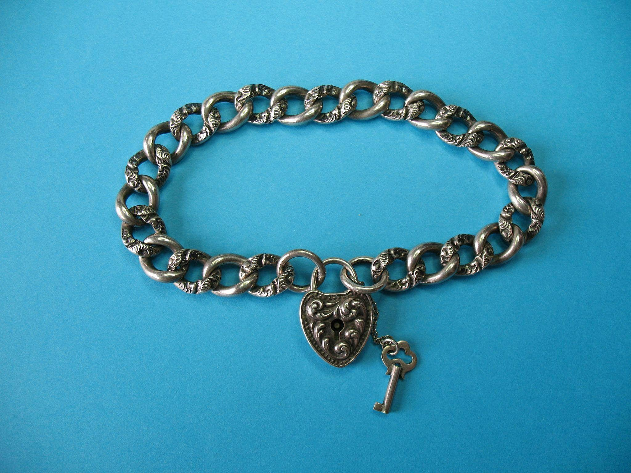 Victorian 1899 Repousse Puffy Heart Padlock Key Charm and Bracelet