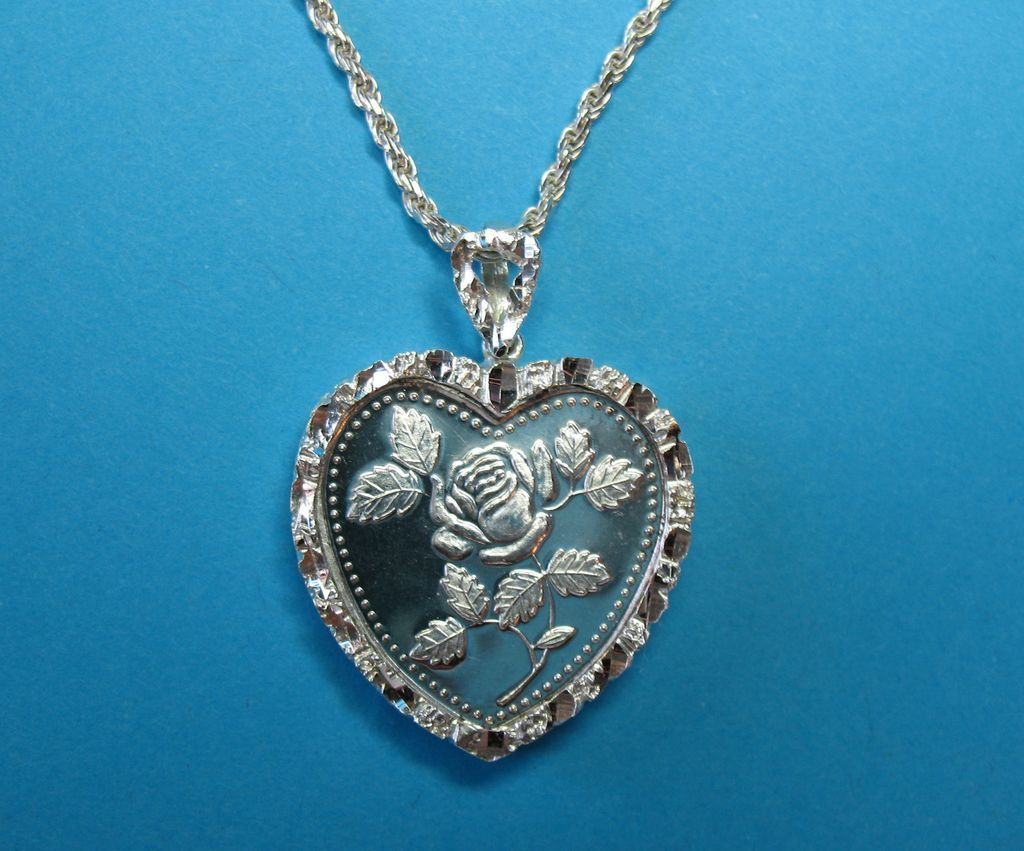 Vintage Silver Nugget Frame Half Troy Ounce Heart Pendant Charm Necklace