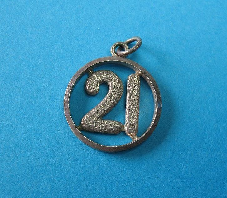 "Vintage English Sterling Silver ""21"" Pendant Or Charm"
