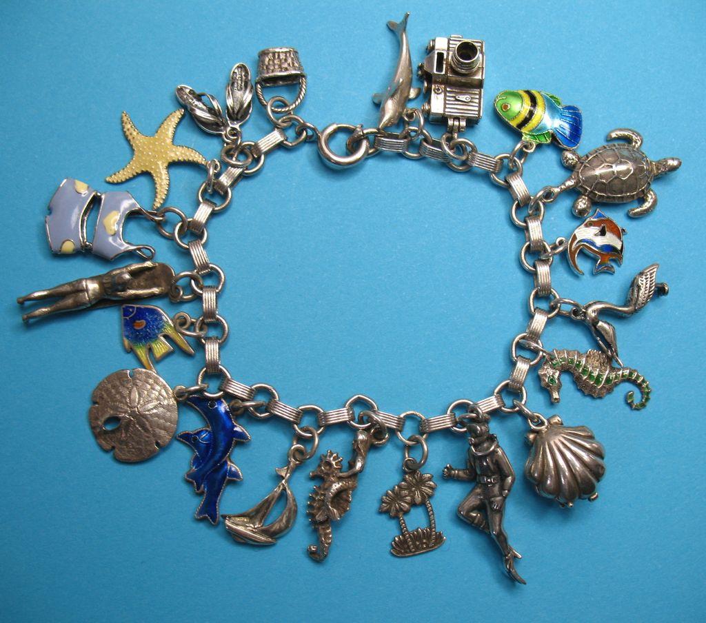 Vintage Sterling Silver Tropical Themed Charm Bracelet