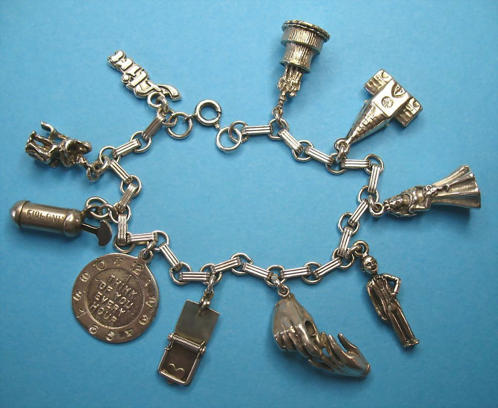 "Vintage Sterling Silver ""Love Story"" Charm Bracelet"