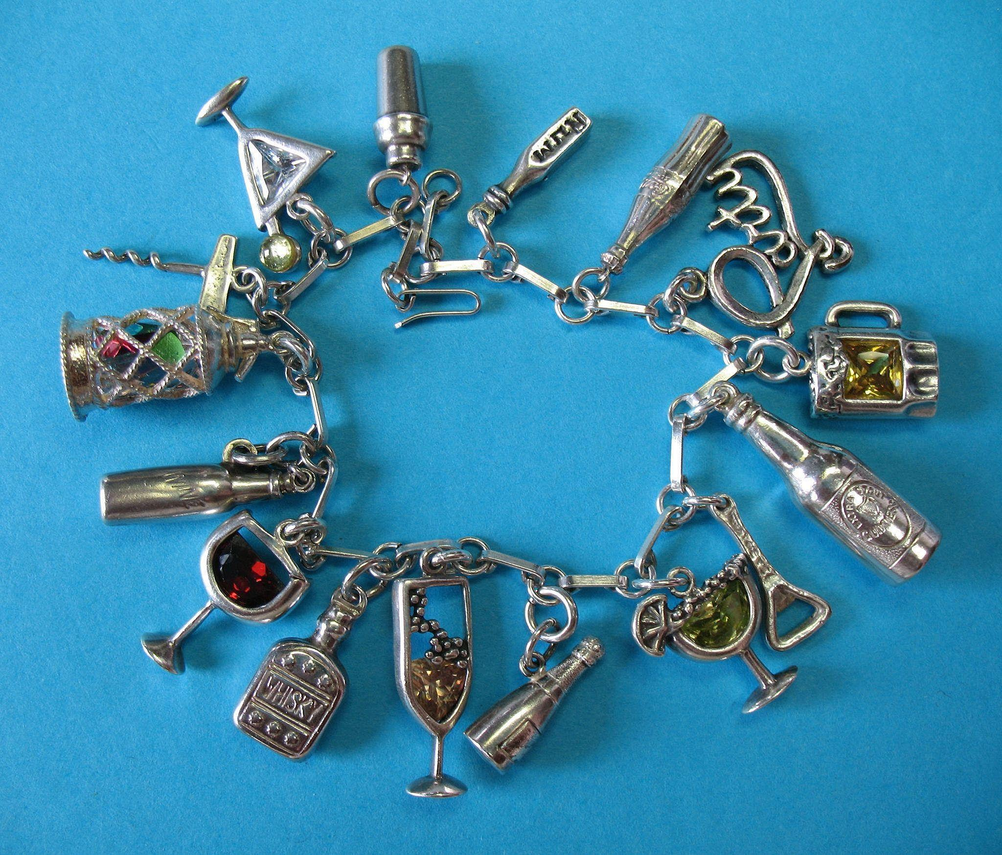 Vintage Sterling Silver Cocktail Charm Bracelet - RARE Crystal Glass Set ~