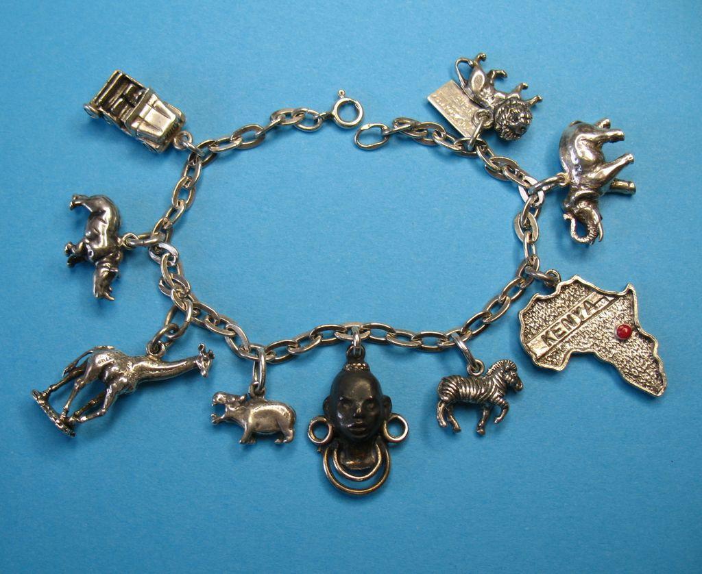 Vintage Sterling Silver African Themed Charm Bracelet