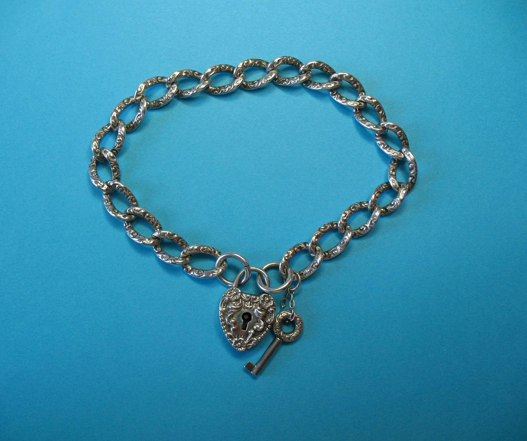 Victorian Sterling Silver Bracelet and Puffy Heart Padlock with Key Charm