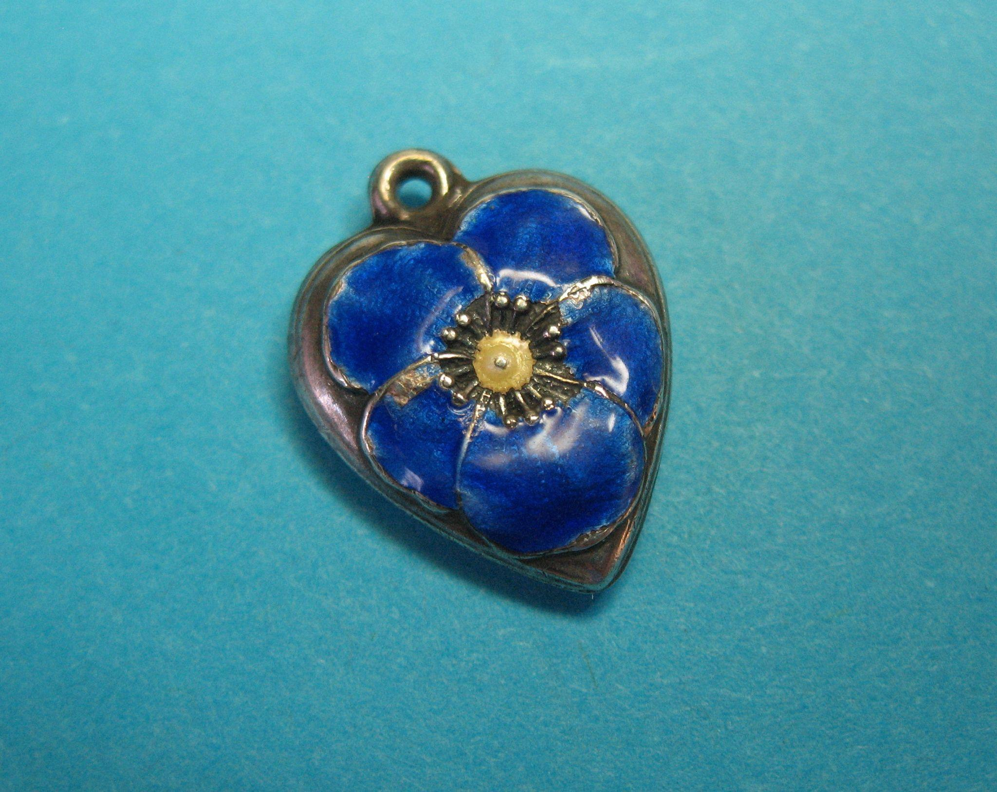 Victorian  Sterling Silver Royal Blue Enamel Pansy Puffy Heart Charm