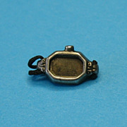 RARE Vintage Sterling Silver 1940's Watch Charm with Cloth Braided Band
