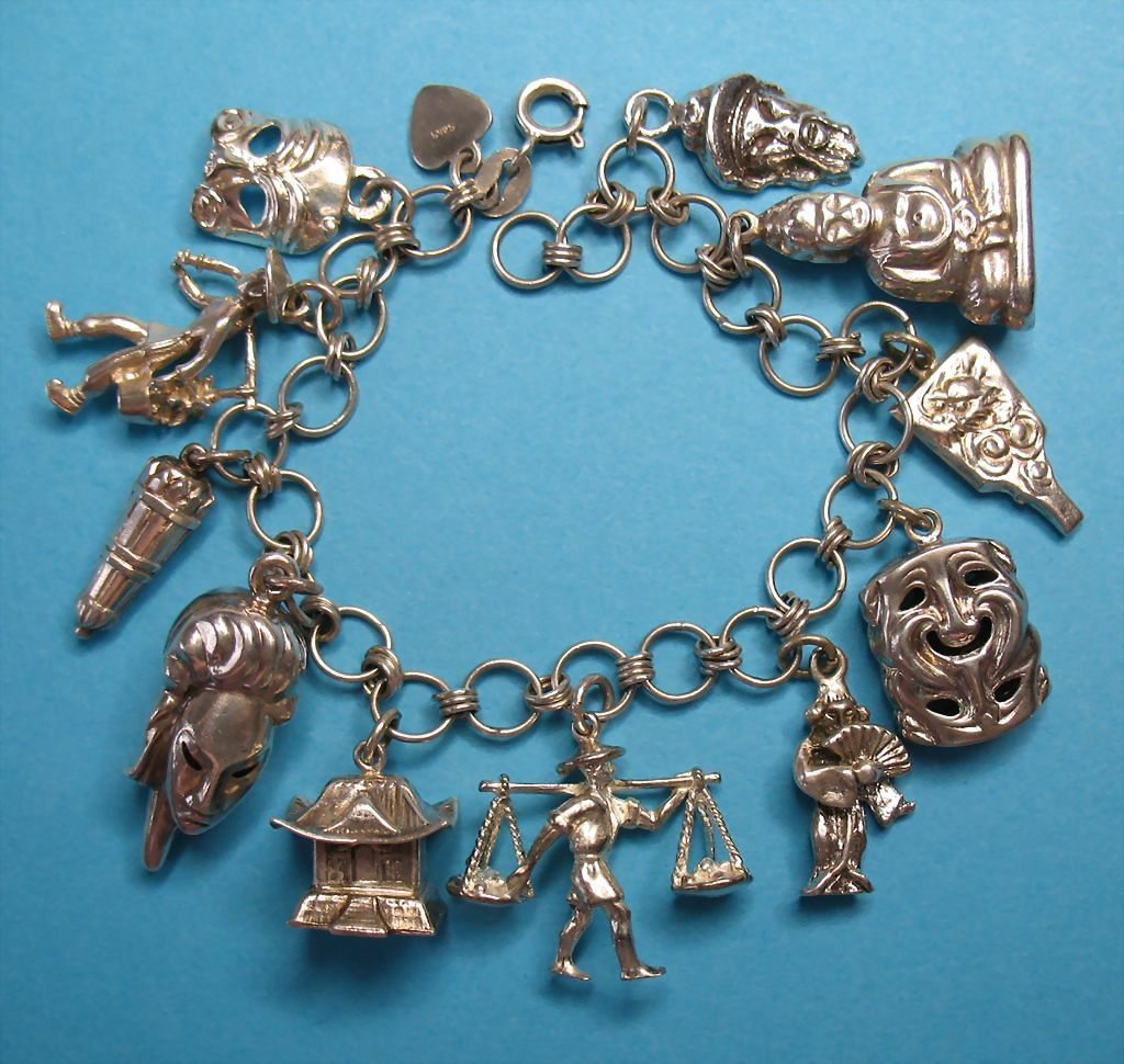 Vintage Sterling Silver Asian Charm Bracelet - Eight Rare Charms