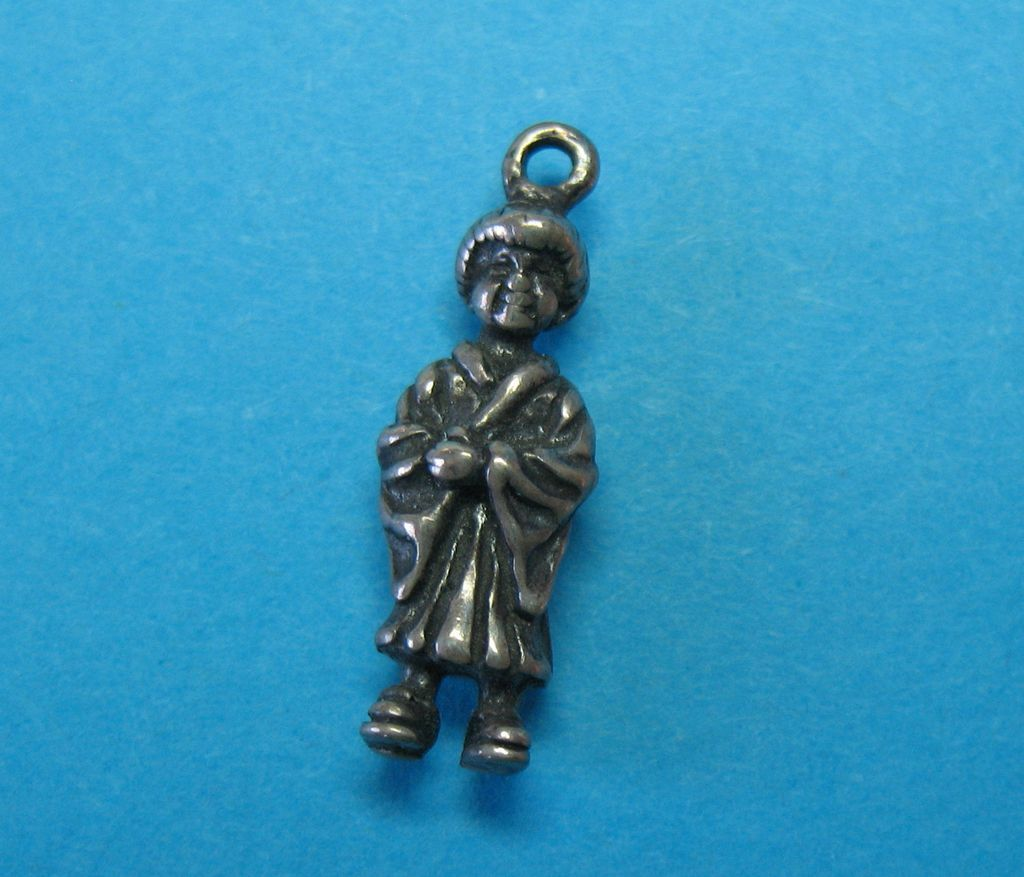Vintage Sterling Silver Japanese Geisha Charm