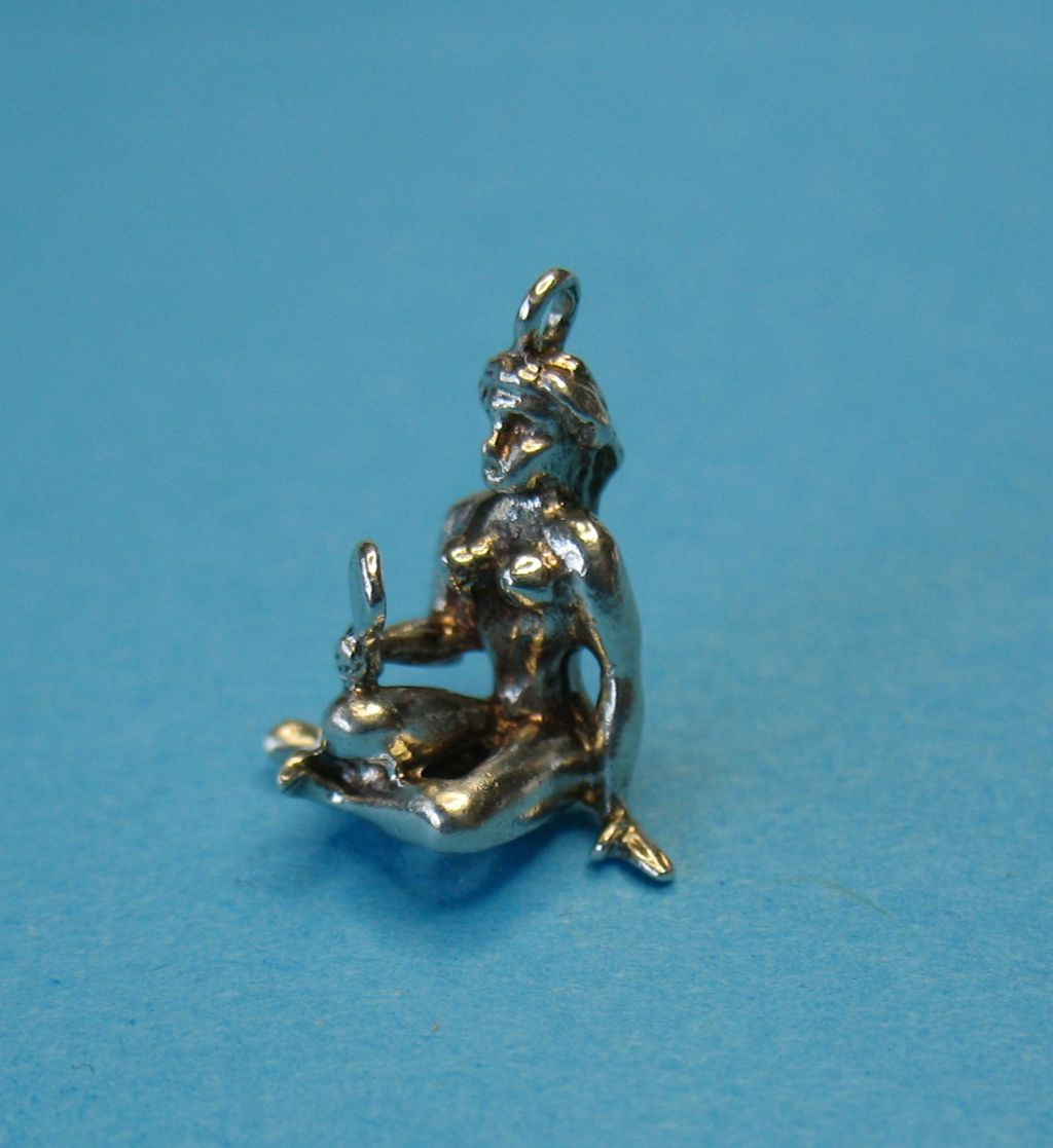 Vintage Sterling Silver Naked Lady with Hand Mirror Charm