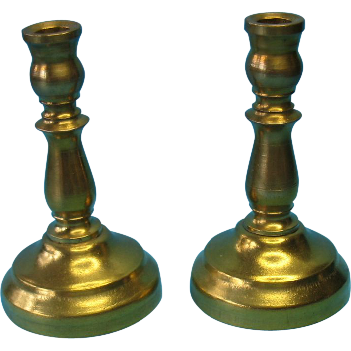 Antique Miniature Dollhouse Brass Candlestick Holders