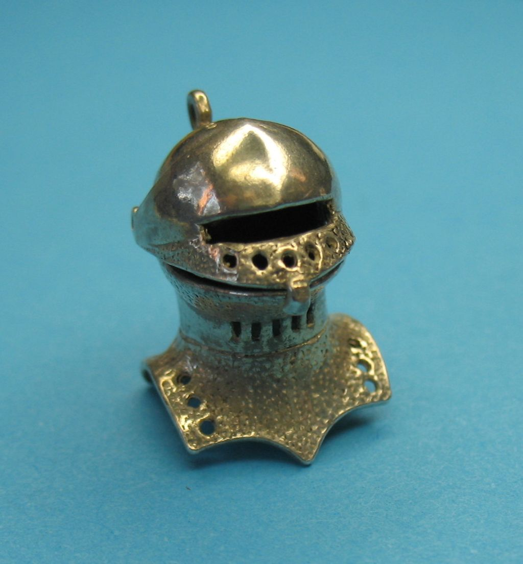 Vintage Sterling Silver Medieval Knight's Helmet Pendant Charm ~Opens~