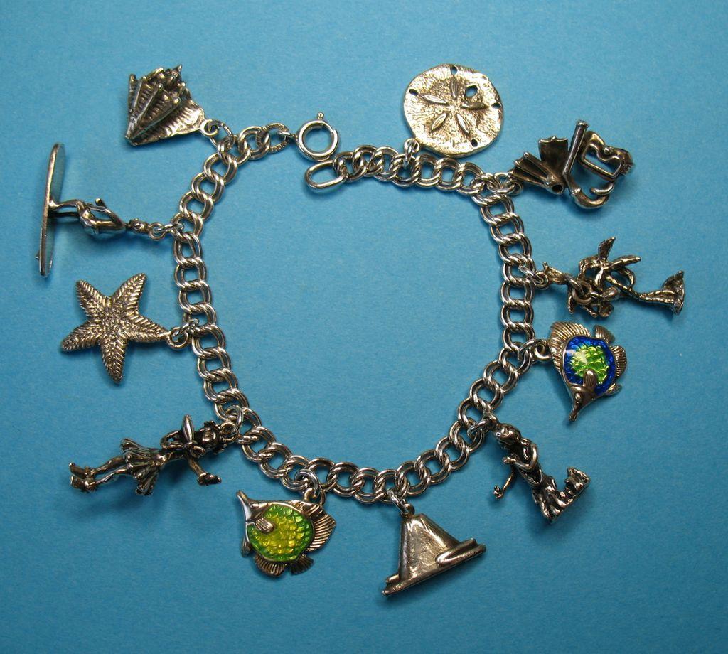 Vintage Sterling Silver Hawaiian Theme Charm Bracelet