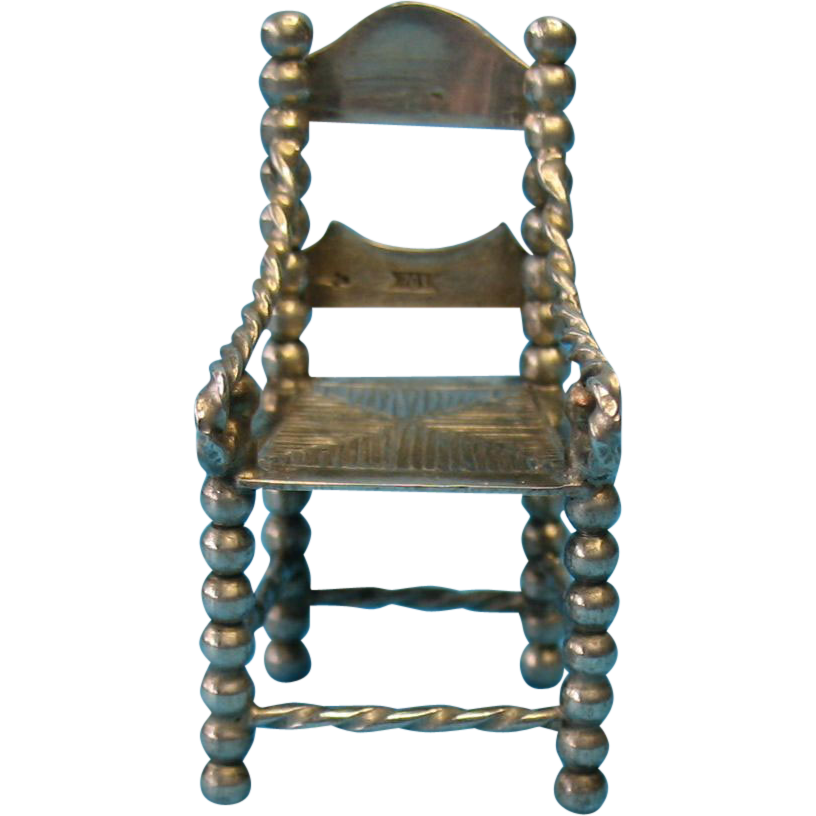 Vintage Sterling Silver Miniature Doll Furniture Chair