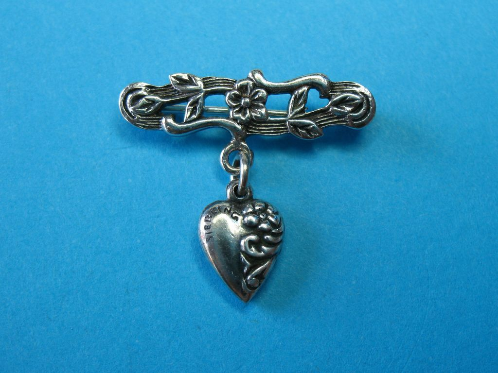 Victorian Sterling Silver Floral Brooch & Puffy Heart Charm