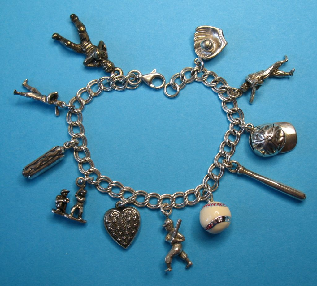 Baseball Charm Bracelet: Vintage Baseball Themed Charm Bracelet From Just4girls On