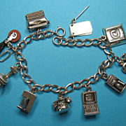Vintage Secretary Themed Charm Bracelet