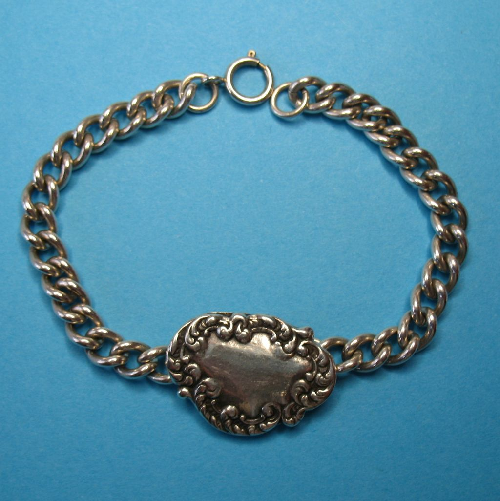 Vintage Sterling Silver Plaque Bracelet - Toree