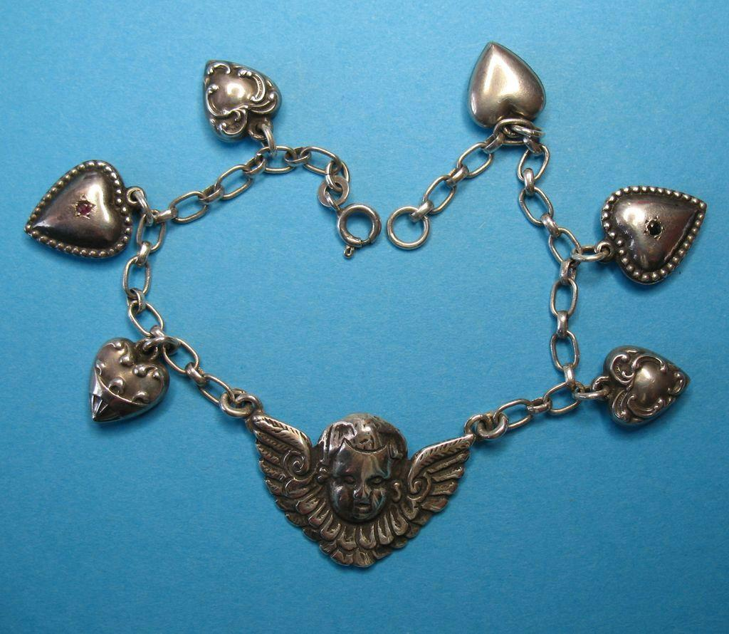 Vintage Sterling Cherub & Mini Puffy Heart Charm Bracelet