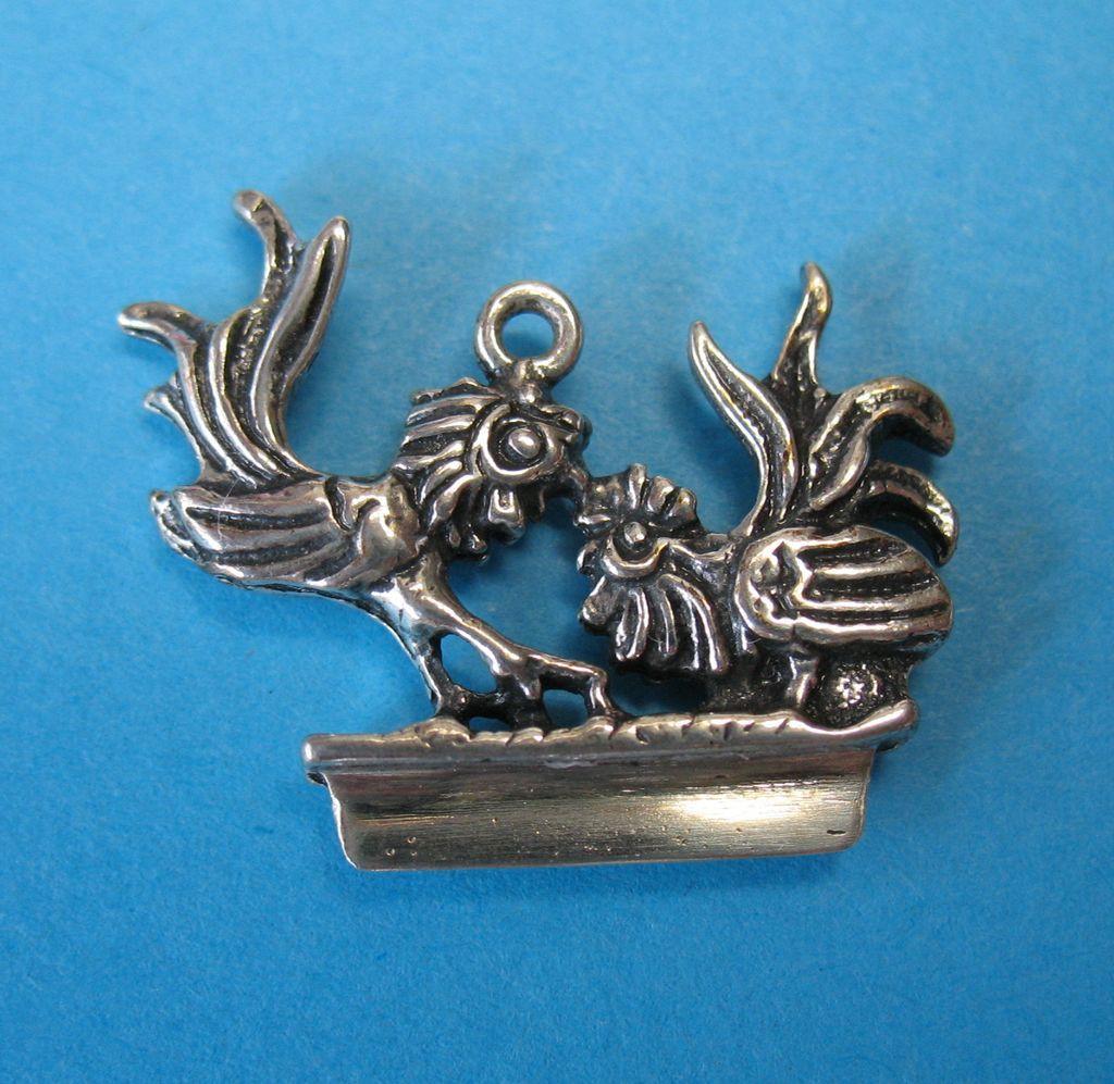Vintage  European Silver Rooster Bracelet Charm