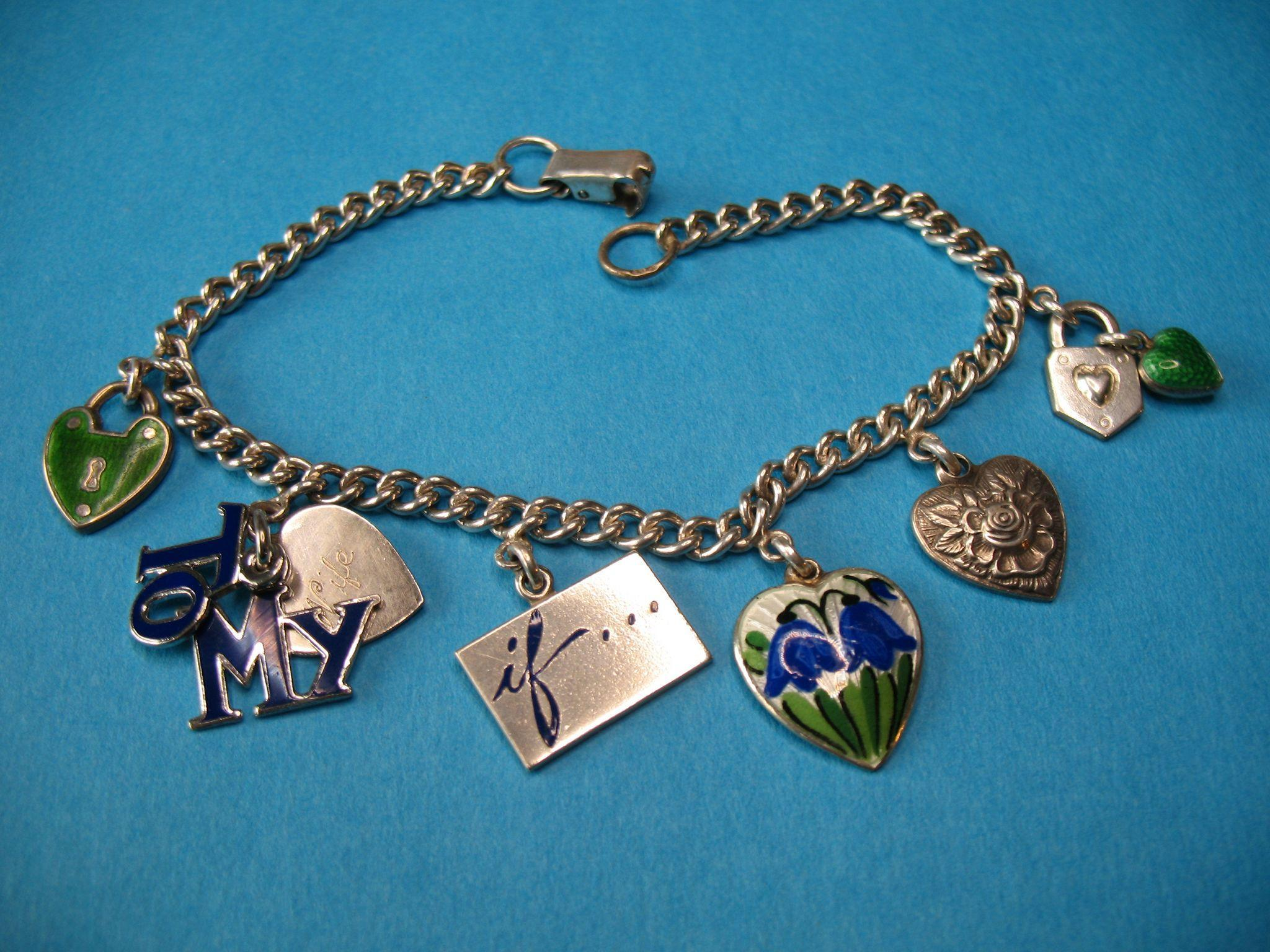 "Vintage Silver European Heart Charm Bracelet ""To My Wife"""